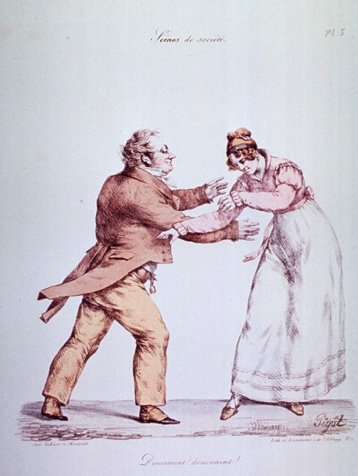 <p>Caricature:  A man and a woman dancing.</p>