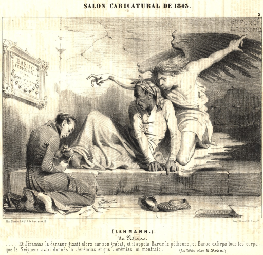 <p>A physician preforming surgery on a man's foot while an angel looks over the patient's shoulder.</p>