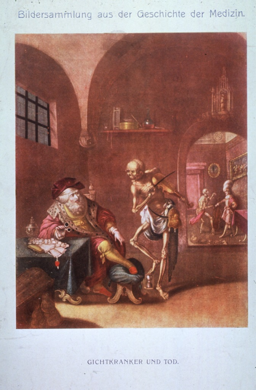 <p>Death visiting a man with gout.</p>