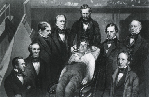 <p>William T.G. Morton, M.D. Boston, making the first public demonstration of etherization surrounded by medical staff.</p>