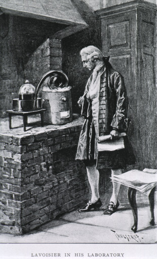 <p>Full length, standing next to brick oven, left profile; observing chemical apparatus; holding paper.</p>