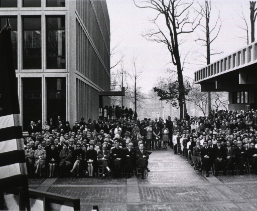 <p>View of the audience at the dedication ceremony for buildings 36 and 37, Nov. 18, 1969, showing Danny Thomas seated in the front row on the right side.</p>