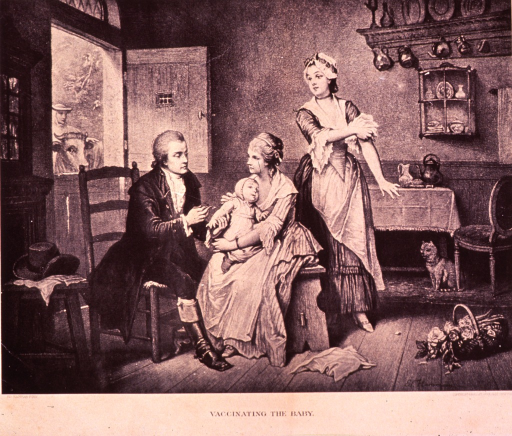 <p>Showing a country doctor, in a farm-house setting, with two women and a baby.  The doctor is vaccinating the baby.  There is a cat watching from under a table, as well as a cow and a maid peering in through the open door.</p>