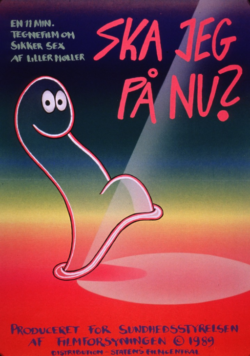 <p>Multicolor poster advertising a film on safer sex.  The poster is illustrated with an animated condom who steps across a floor into a spotlight.</p>