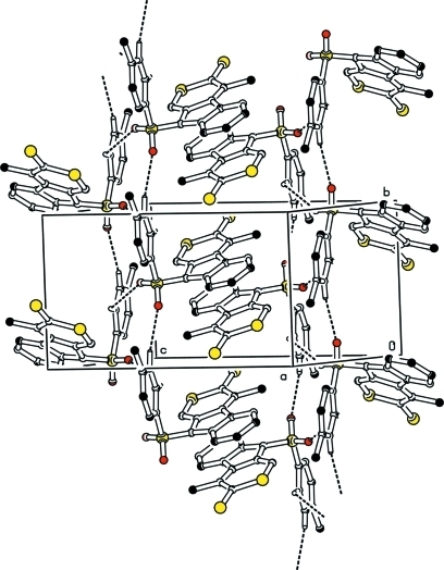 Part of the packing diagram showing the hydrogen bonds and the π-π-interactions.