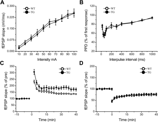 NR2B Overexpression Enhanced LTP but not Basal Transmission and LTD in prefrontal cortex.A: No significant difference in input-output curve between Tg and Wt slices. B: No significant difference in pair-pulse responses between Tg and Wt slices. C: LTP induced by tetanic stimulations in Tg slices were significantly larger than that of Wt slices. D: LTD induced by a low frequency stimulation in Tg slices were not significant different from that of Wt slices. All data are presented as mean ± SEM. Statistical differences were evaluated with student's t -test.