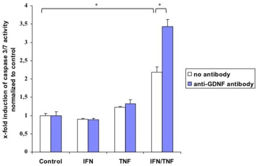 Activation of caspase 3/7 activity in primary EGC cultures. Fluorometric detection of caspase 3/7 activity after incubation of the EGC cultures with TNF-α (100 ng/ml), IFN-γ (100 ng/ml), neutralizing anti-GDNF-antibody (0.5 μg/ml), alone or in combination as described above. The bars indicate the mean values ± SD, normalized to controls, three independent experiments were performed in duplicates (N = 3). Asterisk indicates a significant difference between both values (p < 0.05).
