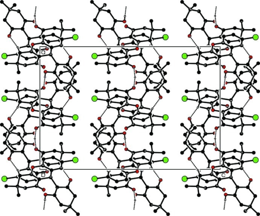 The crystal packing of the title compound, viewing along the b axis. Dashed lines show the intermolecular hydrogen bonding interactions. H atoms not involved in hydrogen bonds have been omitted for clarity.