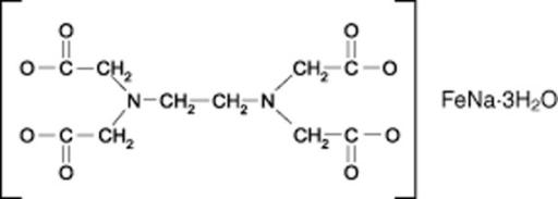 Structural formula of EDTA-FeNa·3H2O (iron EDTA).   Open-i