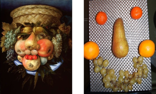 "Examples of the Giuseppe Arcimboldo style.Left: ""Reversible Head with Basket of Fruit"" painting by Giuseppe Arcimboldo (1526–1593), an Italian painter best known for creating fascinating imaginative portraits composed entirely of fruits, vegetables, plants and flowers (image source Artdaily.org; public domain). Right: The portrait of one of the authors of this paper (ANS) created by another author (MAP) in a manner slightly bordering on the style of Giuseppe Arcimboldo."