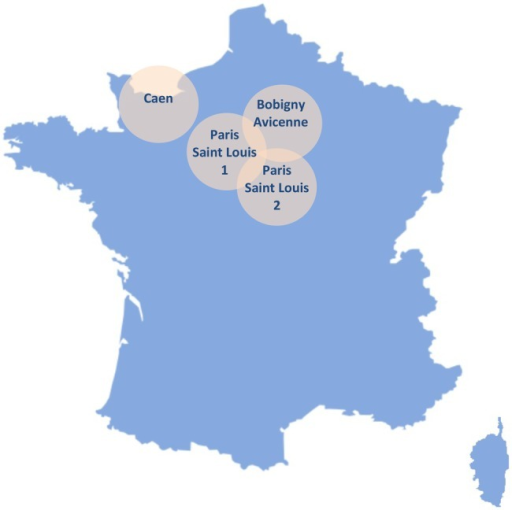 Geographical location of study sites. The figure shows the geographical location of the four centres participating in the study in the French territory.