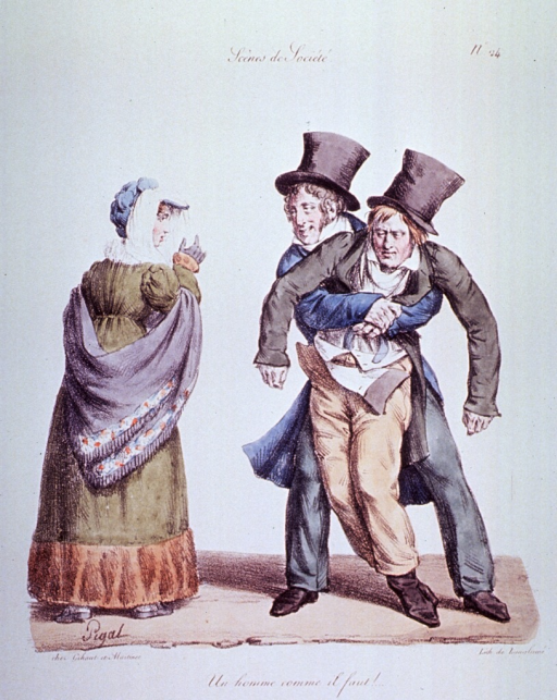 <p>Caricature:  An intoxicated young man is being help along by another young man; he explains to a passing woman that the man has had too much to drink.</p>