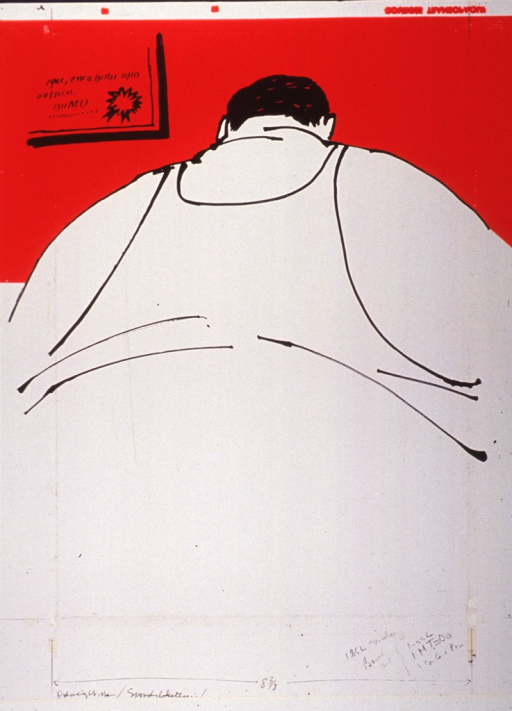 <p>A very fat man in undershirt, seen from the back.</p>