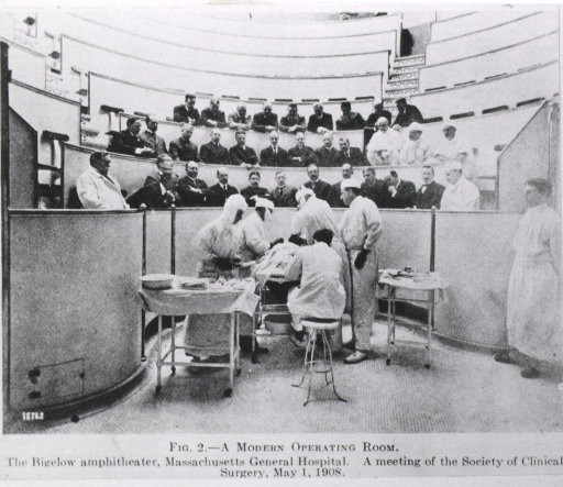 <p>The Bigelow ampitheater.  A meeting of the Society of Clinical Surgery, May 1, 1908.</p>