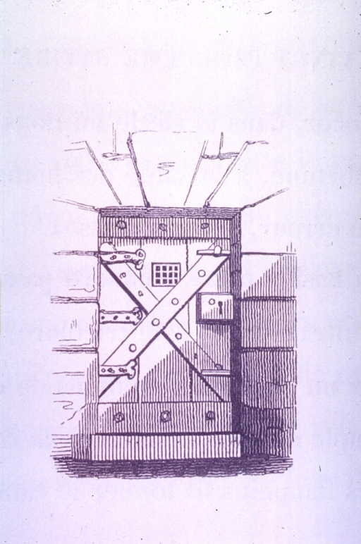 <p>Vignette of the locked and bolted door to a lazaretto(?).</p>