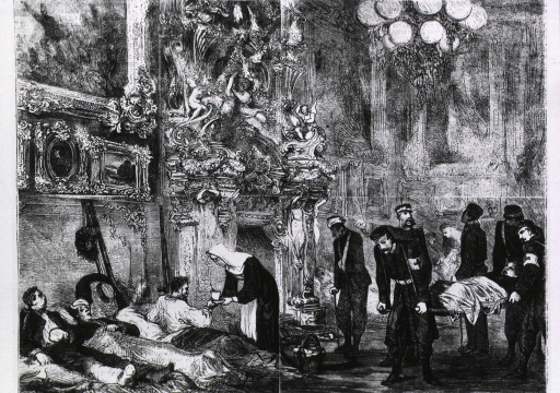 <p>Hospital for wounded soldiers in the Palace of Versailles.  War of 1870.  Interior, with wounded being brought in, litter bearers wearing a red cross.</p>