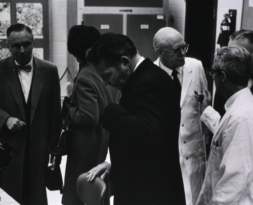 <p>Showing Secretary of HEW, Robert H. Finch and others touring one of the new NIH buildings.</p>