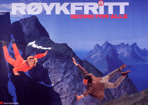 <p>Multicolor poster with white and red lettering.  Title at top of poster.  A no-smoking logo is used to dot the &quot;i&quot; in r&copy;ıykfritt.  Visual image is a color photo reproduction of a rugged chain of mountains arising from the water.  Photos of a man and woman in a free fall are superimposed on photo, appearing as if they are sky-diving without parachutes.  Publisher information in lower left corner.</p>