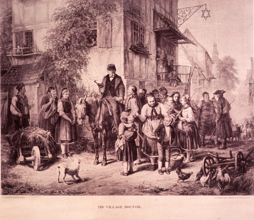 <p>Street scene: an itinerant doctor on horseback is taking the pulse of an old man; there are many people gathered awaiting their turns. The artist can been seen through a window in the background sketching the scene.</p>