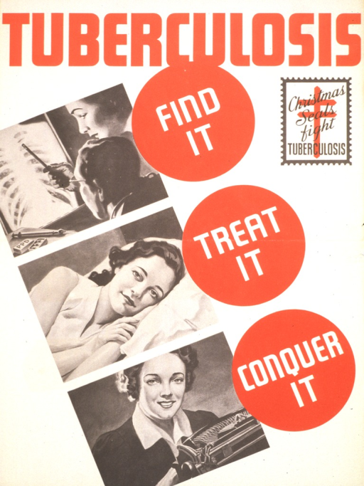 <p>Visual shows three images of a woman. In the first image she is looking at her chest x-ray with a physician, the second one shows her resting, and the third one shows her at a typewriter, back at work. A Christmas Seal stamp with the Cross of Lorraine appears in the upper right portion of the poster.</p>