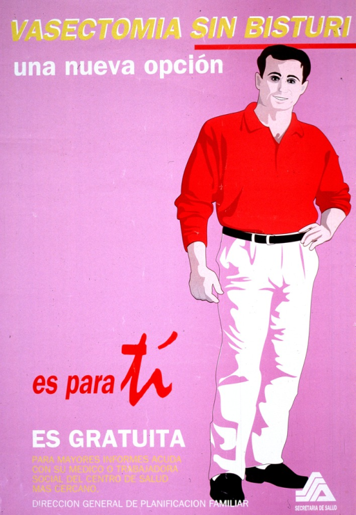 <p>Purple background with multicolored lettering. Image is a drawing of man (wearing a red shirt) who is standing and smiling, as he is looking forward. Title is above him and the picture caption plus organziation infomation is towards the bottom of the poster on the left. A logo is in bottom right-hand corner.</p>
