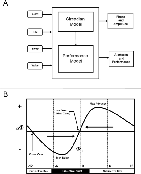 "Schema of the mathematical model and the simulated PRC to light.Panel A. A schematic of the circadian and performance/alertness mathematical models [58],[59]. Both light intensity and endogenous period (""tau"") are inputs to the circadian model to make predictions of the phase and amplitude of the circadian pacemaker. The inputs to the neurobehavioral models are the sleep-wake times and the output of the circadian model. The outputs of the performance models include subjective alertness and objective performance measures. Panel B. Schematic of a phase response curve (PRC) to light stimuli. Circadian phase in hours (Φi) is displayed on the x-axis. Circadian Phase = 0 corresponds to the time of the minimum of the core body temperature, an accepted circadian phase marker. The y-axis displays the change in circadian phase (ΔΦ) ( =  phase after stimulus minus phase before stimulus (Φi)) following a light countermeasure centered at Φi. The PRC consists of two regions: a phase delay (negative phase shift) and a phase advance (positive phase shift) region. If a light stimulus occurs in the delay region, the subsequent circadian phase will occur at a later clock time; the opposite is true for the advance region."
