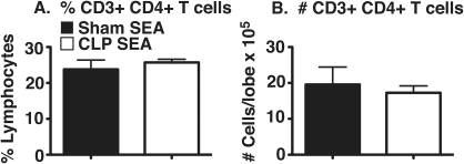 Percentage and total number of CD3+ CD4+ T cells in lungs of SEA-challenged mice.Lobes from sham and CLP RAG SEA-challenged mice were processed into a single-cell suspension and analyzed via flow cytometry for the presence of CD3+ CD4+ T cells. (A) Percentages of CD3+ CD4+ T cells were obtained by gating on total lymphocytes based on forward/side scatter profile. (B) Total numbers of CD3+ CD4+ T cells were obtained by multiplying the percentages obtained via flow cytometry via the total viable cell count (hemacytometer & vital dye exclusion). Data presented is representative of two separate experiments, n = 5 per group. (*) = p<0.05 vs. sham RAG.