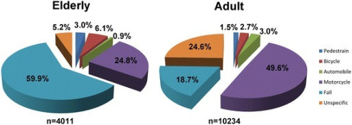 Etiology of trauma among elderly and adult patients admitted for treatment of trauma injuries.