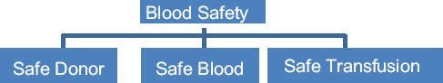 Elements of blood safety.Source: Editor-Dr. Shivaram. Transfusion Medicine for Clinicians, Prism Publications, 2011