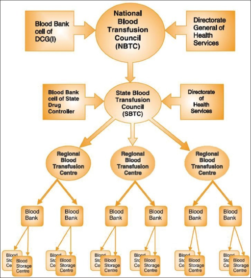 Organogram of Indian Blood Transfusion Service.Source: Action Plan for Blood safety Manual-NACO/NBTC[16]