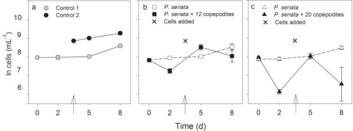 (a) Cell concentrations (ln cells mL−1, mean ± SD) in the induction experiment. (a) The two controls (both n = 3); (b) Cell concentrations in flask A with 12 copepodites and flask B with only P. seriata cells separated from flask A by a 2 µm membrane (n = 4). (c) Cell concentrations in flask A with 20 copepodites and flask B with only cells separated from flask A by a 2 µm membrane (n = 4). The cross and arrows indicate the time and the amount for P. seriata cells or 1/10 L medium addition.