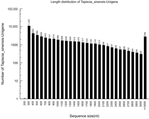 Length distributions of the unigenes in the assembled transcriptome.