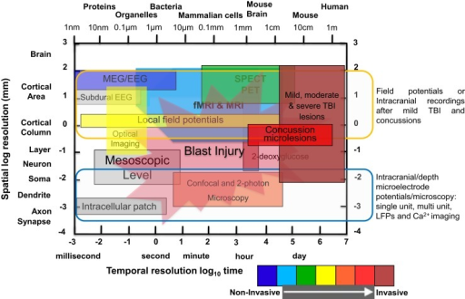 Comparison of spatial and temporal resolution and penetration depth of different neuroimaging techniques used in clinical and laboratory setting to investigate mild TBI, moderate/severe TBI, and blast injury. Illustration of functional neuroimaging and neurophysiological techniques showing comparison of spatiotemporal resolution and penetration depth of neurometabolic optical techniques. The x-axis (time in seconds to day or size of object/animal/patients) and the y-axis (distance in millimeters) are scaled logarithmically. Penetration depths are color-coded from non-invasive to invasive, ranging from blue to red color [modified from Ref. (4–8)].