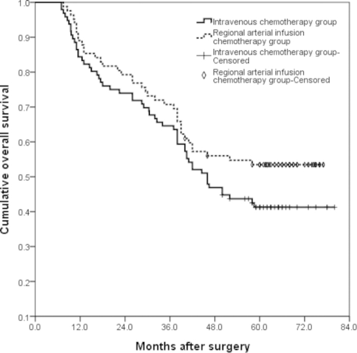 Overall survival (OS) curves of intravenous NAC group and regional arterial infusion NAC group.There was no statistically significant difference between the two groups (P = 0.137). The 1-, 3-, and 5-year OS rates were 84%, 65%, and 41% in the intravenous NAC group and 89%, 71%, and 53% in the regional arterial infusion NAC group.
