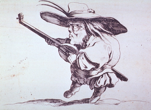 <p>Figure of a man playing a stringed instrument.</p>