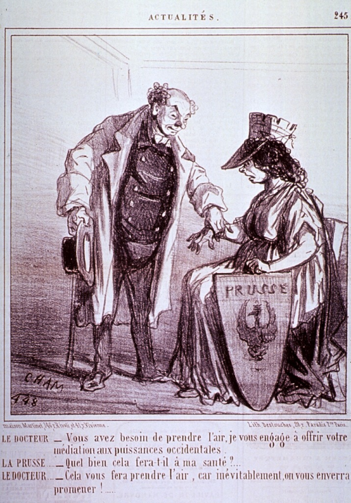<p>A physician, standing, holding hat and cane in one hand, is taking the pulse of a woman sitting on a chair, she is wearing a crown and holding a shield at her side.</p>