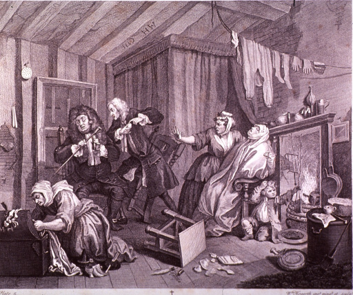 <p>Plate 5 from &quot;A Harlot's Progress&quot;.  Moll sits in a chair dying while 2 doctors argue over their cures. Her serving-woman is holding out her right hand toward the arguing doctors. Another woman rifles through a trunk, and a small boy sits by the fire.</p>