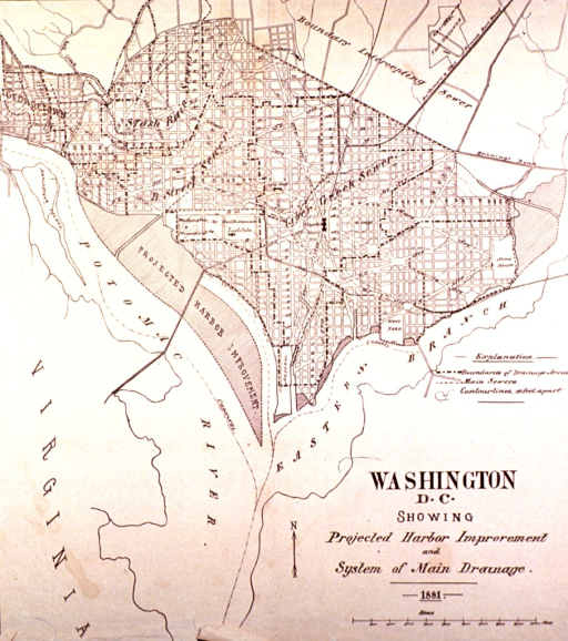 <p>Map of Washington, D.C., showing projected harbor improvement and system of drainage, 1881.</p>