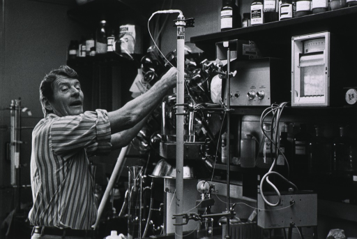 <p>Half-length, working with chemical apparatus in a laboratory.</p>