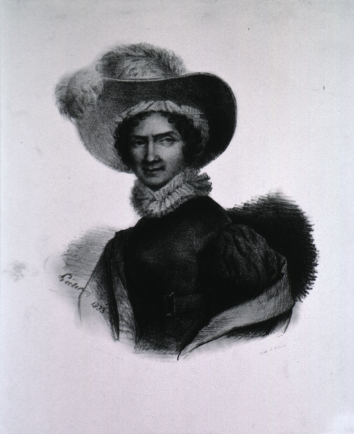 <p>Half-length, left pose, full face; wearing large hat with plumes.</p>