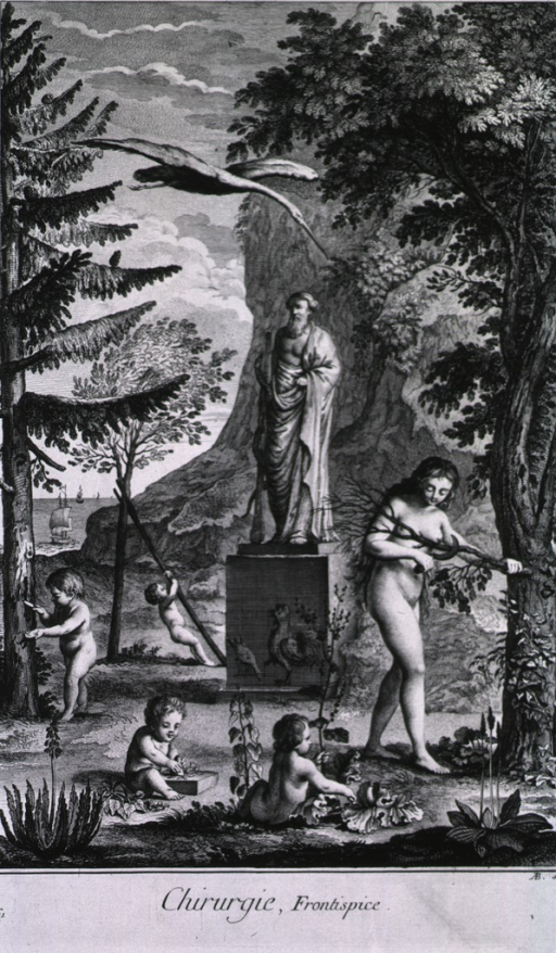 <p>Exterior view: among the trees, at the base of a cliff, are naked children playing and a naked women cutting a branch; a statue of a man is mounted on a base, a rooster is emblazoned on the base.  In the background are sailing ships.</p>