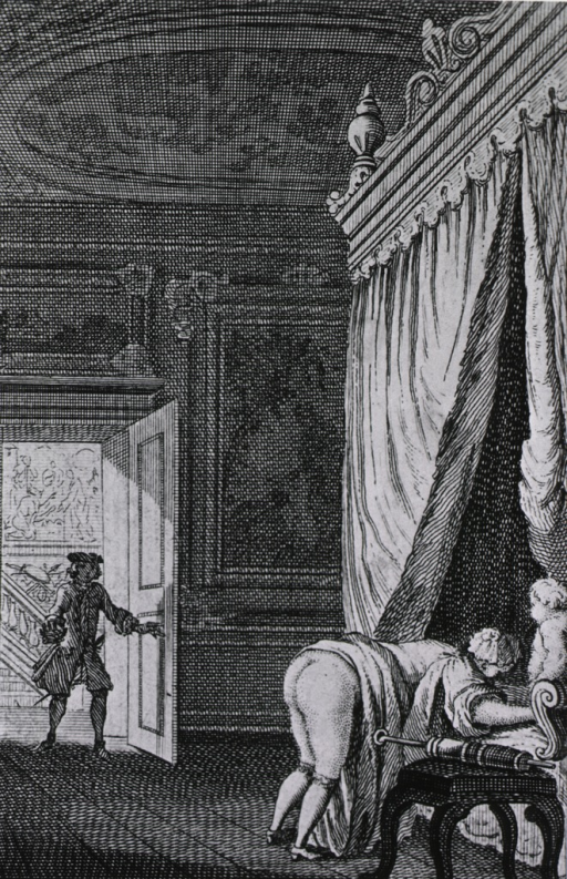 <p>Interior, with woman about to receive a clyster, surprised as man enters room.</p>