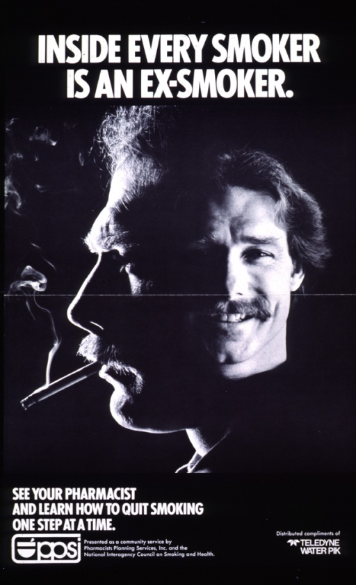 <p>Predominantly black poster with white lettering.  Title at top of poster.  Central visual image is a juxtaposition of two b&amp;w photos.  The larger photo, on the left, shows a man's face in profile.  He has a cigarette in his mouth and a furrowed brow.  The rest of his head just fades to black.  The smaller photo, on the right, shows the same man facing forward, smiling and without a cigarette.  Remaining text at bottom of poster, along with sponsor's name and logo.</p>