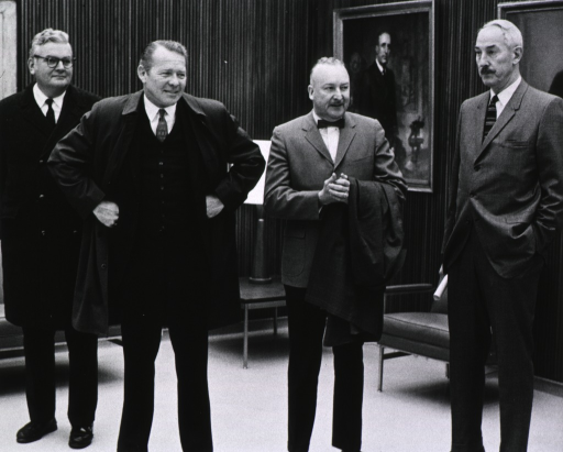 <p>Showing Dr. Edward F. MacNichol, Jr., Robert H. Finch, Dr. Carl G. Baker, and Dr. John C. Eberhart touring one of the new NIH buildings during the dedication ceremony for buildings 36 and 37, Nov. 18, 1969.</p>