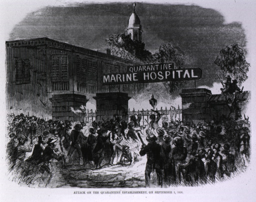 <p>Photograph of a wood engraving that appeared in Harper's Weekly. Illustrates the attack on the hospital. A crowd storms the gates of the establishment. Over the gates hangs a sign: &quot;Quarantine Marine Hospital&quot;.</p>