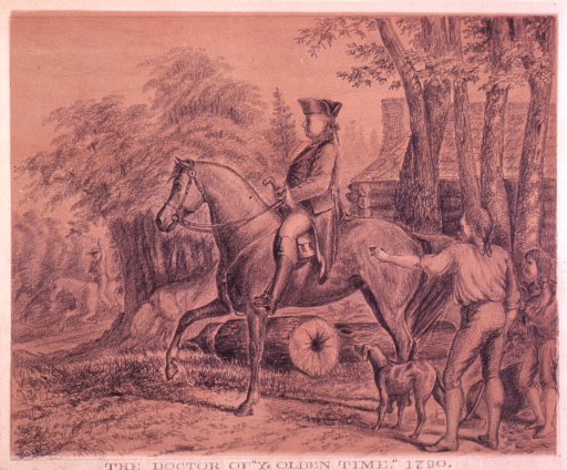 <p>A man (physician) is on horseback, two other people (one holding an axe, the other a chicken) are standing to the right with a dog, and in the background is a log cabin.</p>