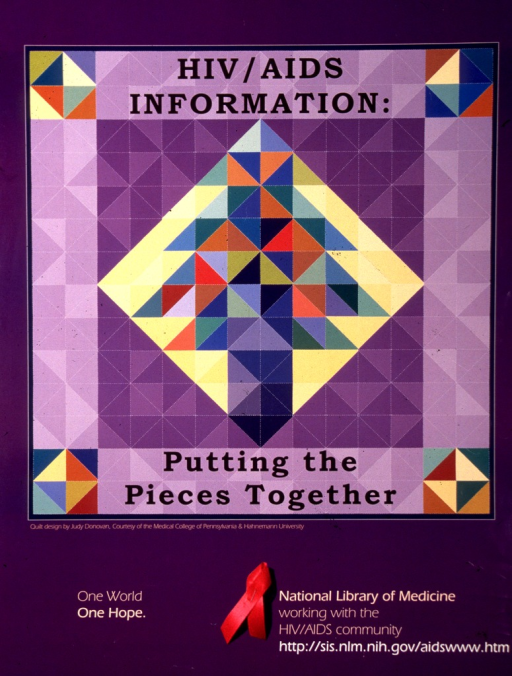 <p>The quilt design, by Judy Donovan, is also the cover for the workshop manual under the same title.  &quot;One world. One hope&quot; is in the lower corner.</p>