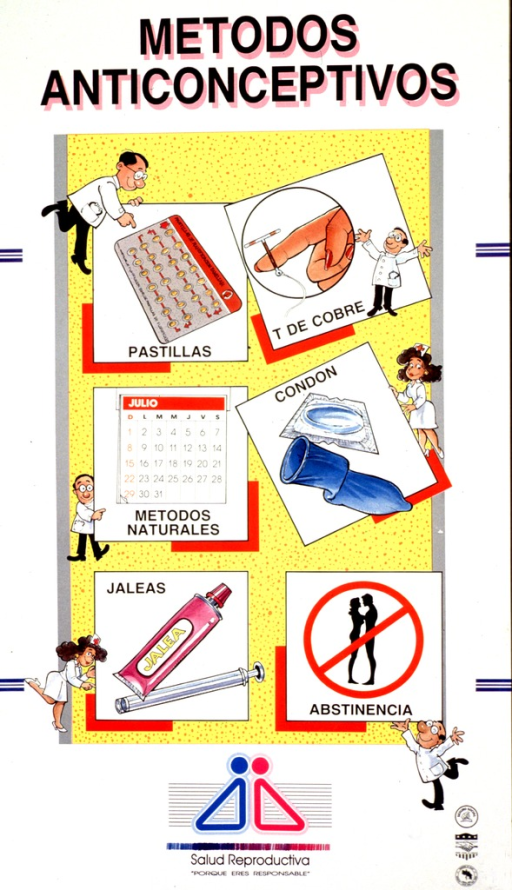 <p>Multicolor poster with black and pink lettering.  Title at top of poster.  Visual images are illustrations, some in a cartoon style, depicting health workers and six contraceptive methods.  Methods include pills, IUD, natural methods (e.g., calendar), condoms, jellies, and abstinence.  Note below illustrations.  Publisher and sponsor information in lower right corner.</p>