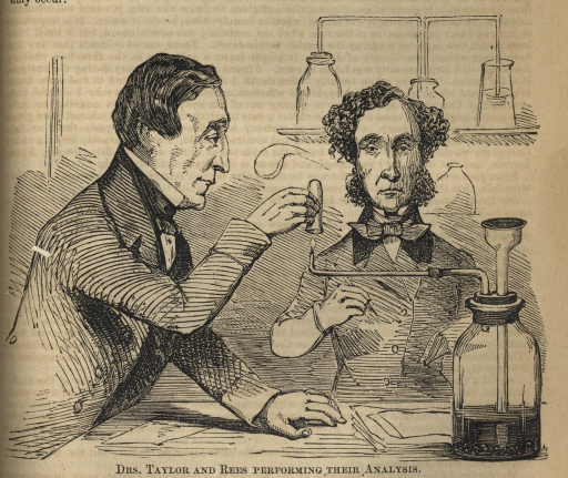 <p>Image of an engraved illustration of Drs. Taylor and Rees from the waist up and both dressed in full suit and tie at a laboratory table performing their forensic testing analysis.</p>