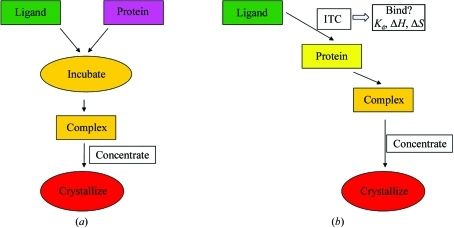 (a) Flowchart of a typical protocol to produce a solution of a complex, where protein and ligand are simply combined. (b) The simple combination of protein and ligand may be replaced by an ITC, where additional data on the binding stoichiometry, enthalpy and affinity can be gathered en route to crystallization trials.
